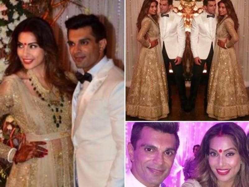 Bipasha Basu and Karan Singh Grover's wedding reception on Saturday was a star-studded affair. Bipasha looked elegant in a gold sequined lehenga gown, while her groom looked handsome in an ivory tuxedo. (Instagram)