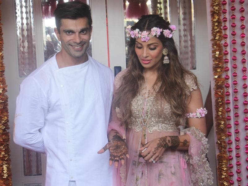Karan Singh Grover with his beautiful bride Bipasha Basu during their mehendi ceremony on Friday in Mumbai.  (HT Photo)