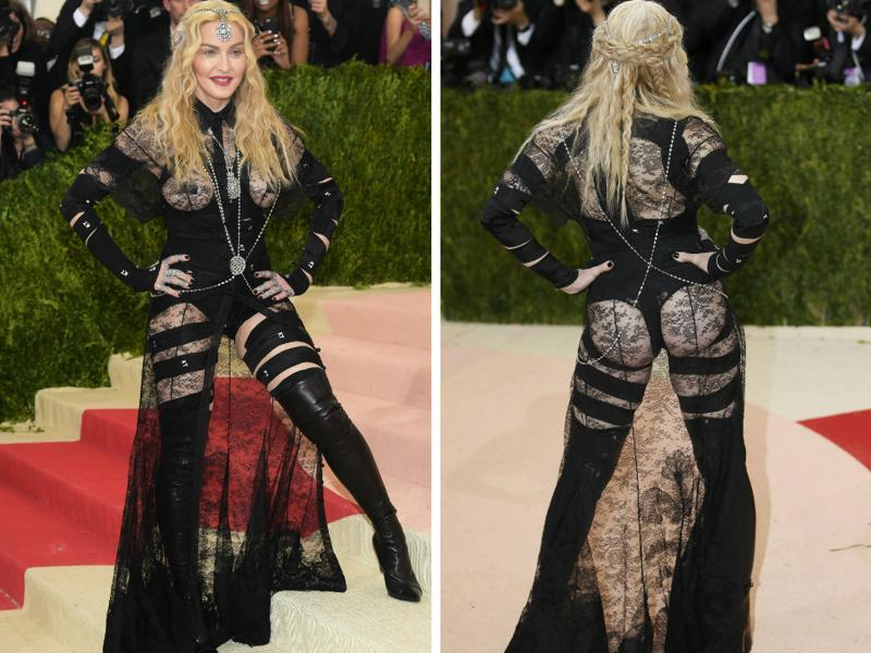 Madonna in a black Givenchy ensemble which brings only one word to mind -- bondage!