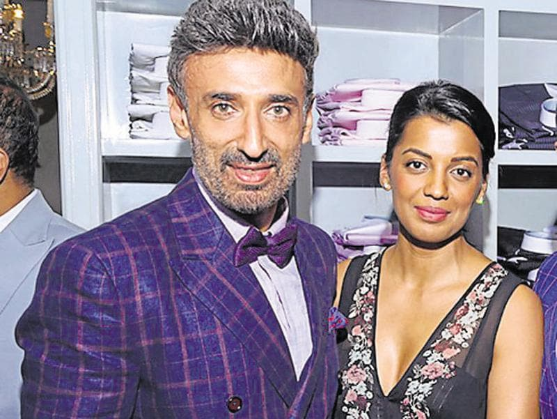 Rahul Dev and Mugdha Godse spotted together at an event. (HT Photo)