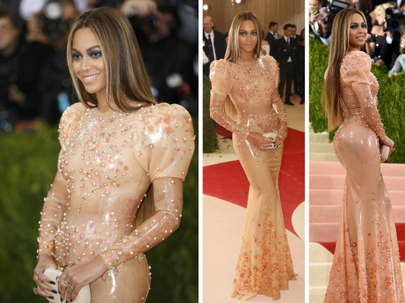 Queen Bey walked the red carpet at Met Gala without husband Jay Z. In her first major appearance since Lemonade -- her revenge album detailing alleged marital infidelities -- came out, Beyonce arrived wearing a custom Givenchy gown that was basically made of latex.  (AFP)