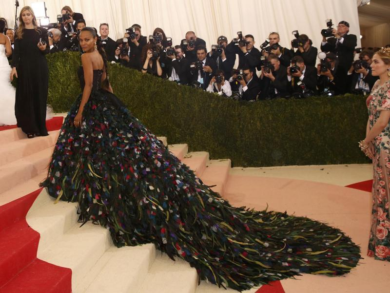 Remember Rihanna's Guo Pei train from last year's Met Gala? And this year, Zoë Saldana's train game is a standout. (REUTERS)