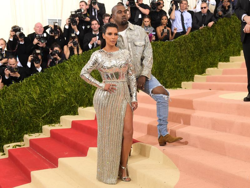 It was Balmain for Kim Kardashian and husband Kanye West as they made their appearance at The Metropolitan Museum of Art Costume Institute Benefit Gala in New York. Interesting aside: Daughter North West is in love with mommy's dress! (Charles Sykes/Invision/AP)