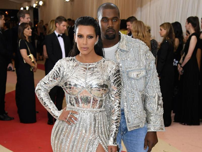 Kim Kardashian West (L) and Kanye West attend the Manus x Machina: Fashion In An Age Of Technology Costume Institute Gala at Metropolitan Museum of Art in New York . (AFP)