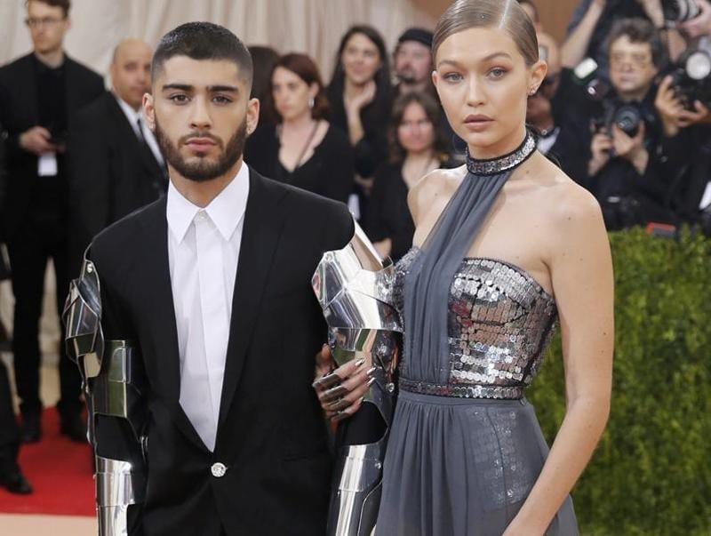 Model Gigi Hadid (R) and singer Zayn Malik were true to Met Gala's theme of Manus x Machina: Fashion in an Age of Technology. (REUTERS)