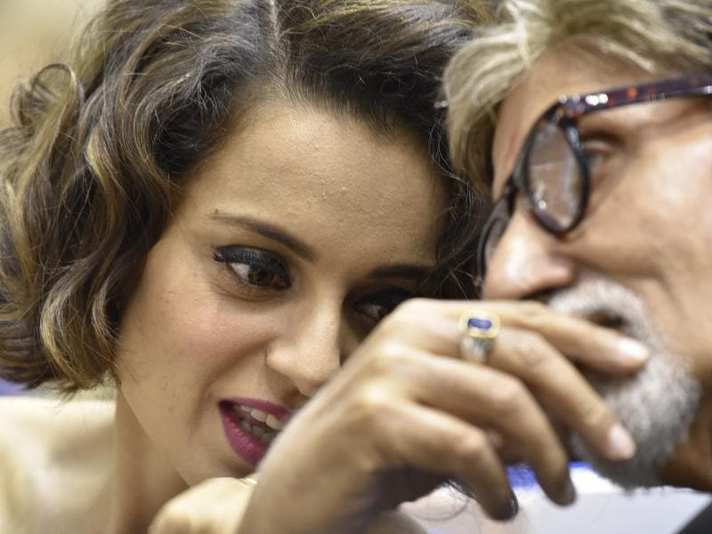 Winner of Best Actor award Amitabh Bachchan and Best Actress award Kangna Ranaut seen during National Film Awards ceremony at Vigyan Bhawan in New Delhi on Tuesday. (Raj K Raj/HT Photo)