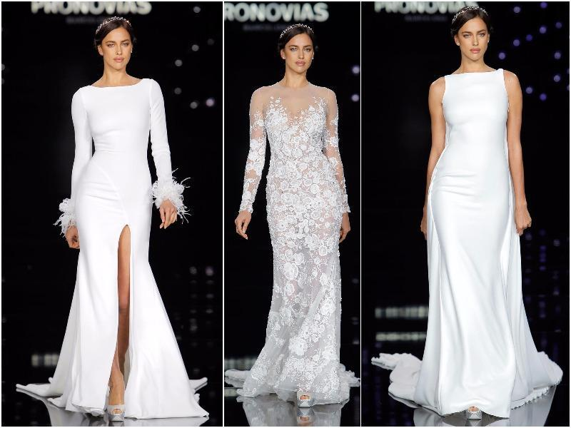 Pronovias once again enlisted Russian model Irina Shayk as the star of its bridal fashion show. (Pronovias)