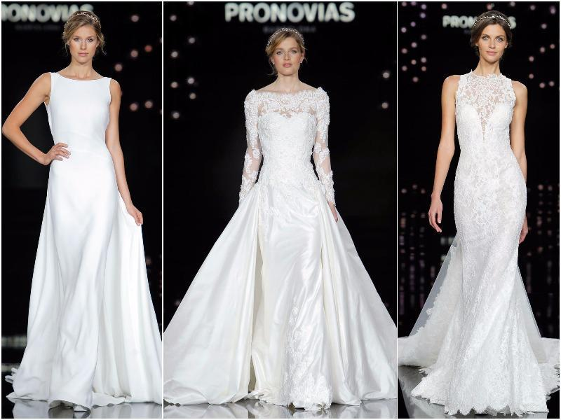 The collection focuses on fine fabrics and matches gowns with couture accessories. (Pronovias)