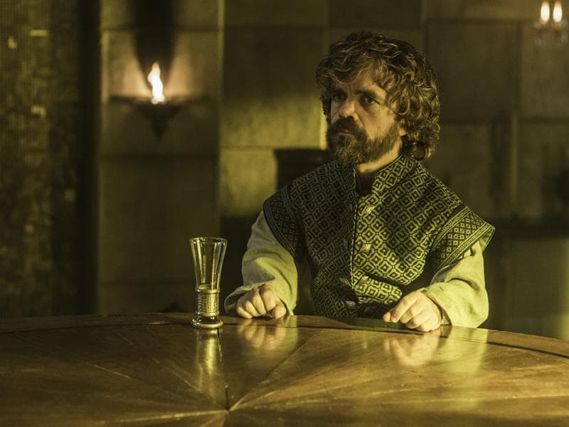 Wow, that's a rare sight. Tyrion with an empty wine glass. (HBO)
