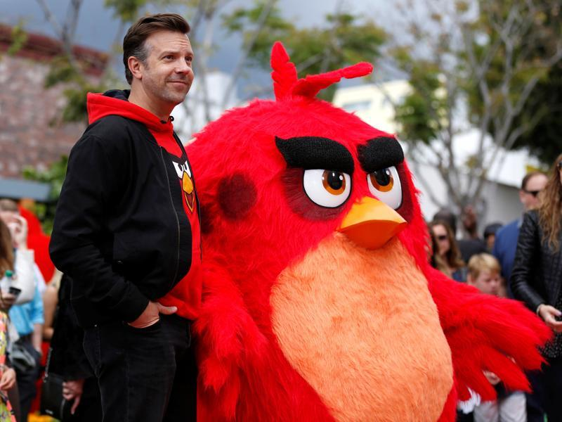 Jason Sudeikis poses with the character of Red. (REUTERS)