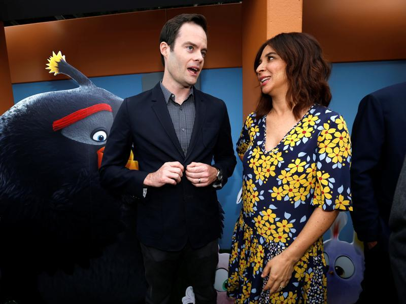Bill Hader and Maya Rudolph attend the premiere. (REUTERS)