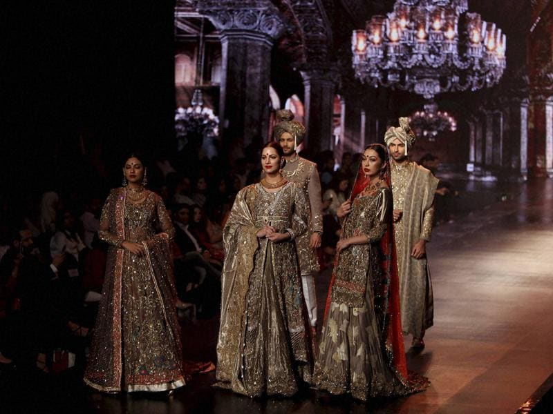 Models in creations by Pakistani designer Mohsin Naveed Ranjha at Bridal Couture Week 2016. (AP)