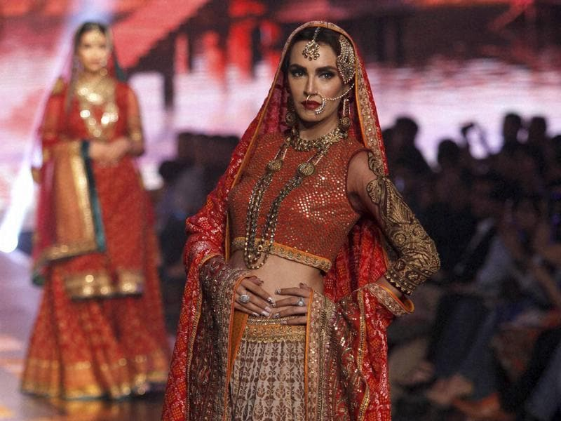 A model presents a creation by Pakistani designing label Bibi London during Bridal Couture Week 2016 in Karachi.  (AP)
