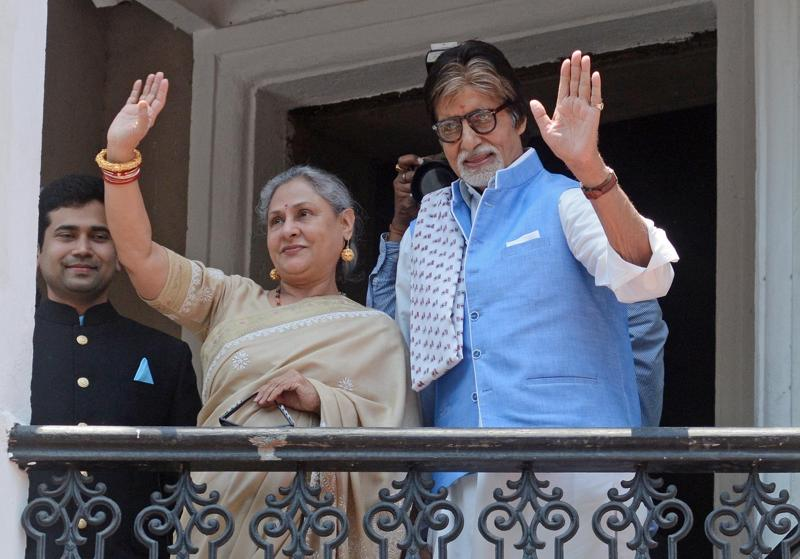 Actors Amitabh Bachchan and Jaya Bachchan during inauguration of a jewellery store in Kolkata. (IANS)