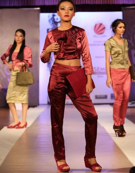 Students looking stunning during the fashion show at Jalandhar. (Pardeep Pandit/HT Photo)