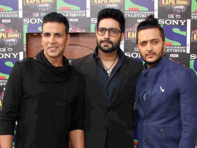 Bollywood actors Akshay Kumar, Riteish Deshmukh and Abhishek Bachchan promote their film Housefull 3 on the sets of The Kapil Sharma Show in Mumbai on Monday. (PTI)
