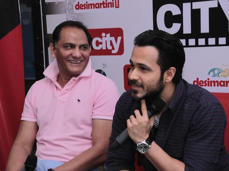 Former Indian captain Mohammad Azharuddin and Bollywood star Emraan Hashmi visited HT House to promote the upcoming biopic, Azhar, on Monday. (Shivam Saxena/HT photo)