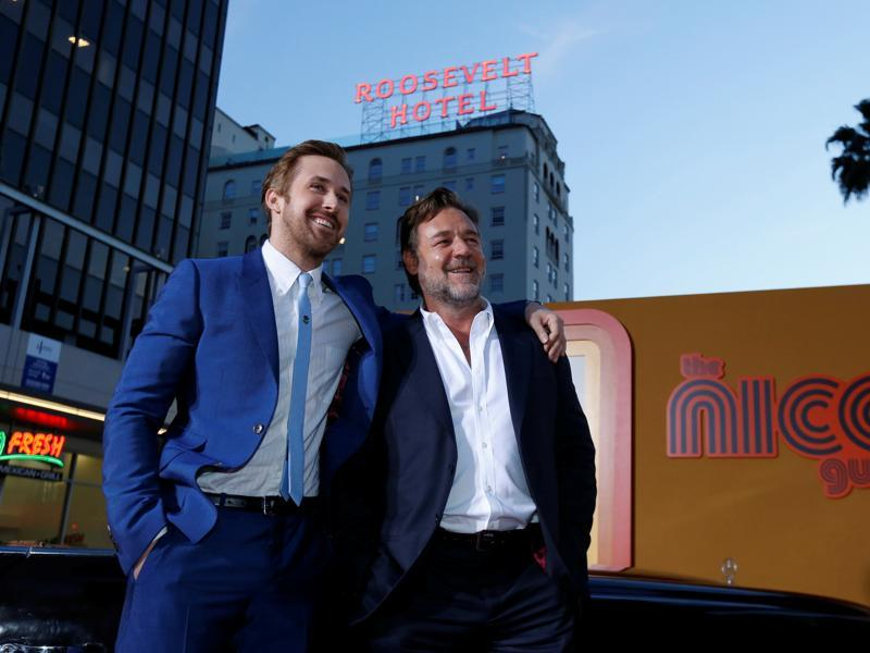 Ryan Gosling and Russell Crowe pose at the premiere of the buddy comedy film The Nice Guys in Hollywood. (REUTERS)