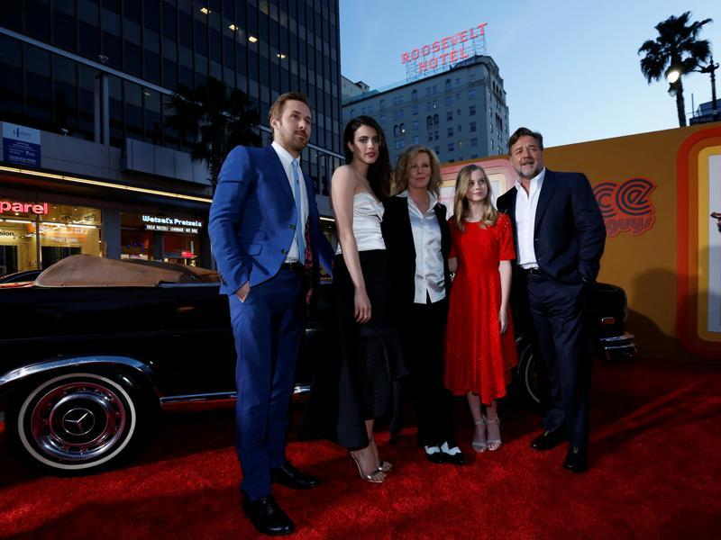 Cast members Ryan Gosling, Margaret Qualley, Kim Basinger, Angourie Rice and Russell Crowe pose at the premiere of The Nice Guys in Hollywood. (REUTERS)