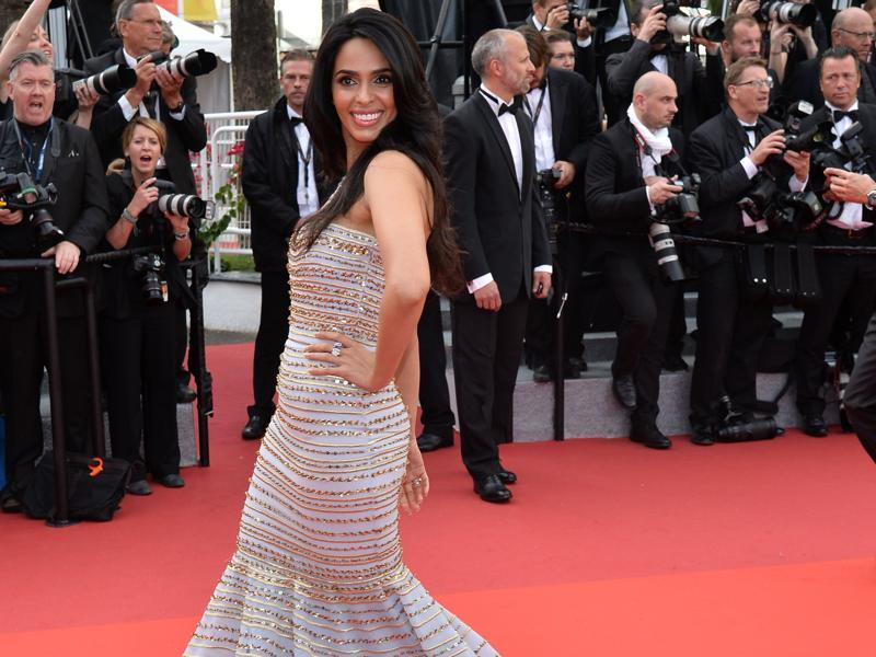 Bollywood actor Mallika Sherawat, whose film Time Raiders has been selected for the festival, wore an off-shoulder Georges Hobeika gown which she paired with a diamond neckpiece from Maison Mellerio for the opening ceremony. (AFP)