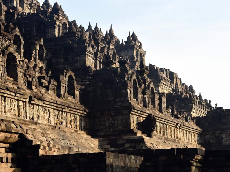 The temple was built in the Javanese Buddhist architectural style blending Indonesian indigenous cult of ancestor worship with Buddhist notion of nirvana. The monument also has elements of the Gupta period architecture. (AFP)