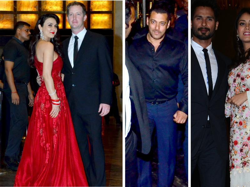 Preity Zinta took her own sweet time to hold a wedding reception in Mumbai but she more than made up for the delay on Friday. Along with husband Gene Goodenough, she welcomed Salman Khan and girlfriend Iulia Vantur, Shah Rukh Khan and Shahid Kapoor with wife Mira, among others. (Yogen Shah/HT PHOTO)
