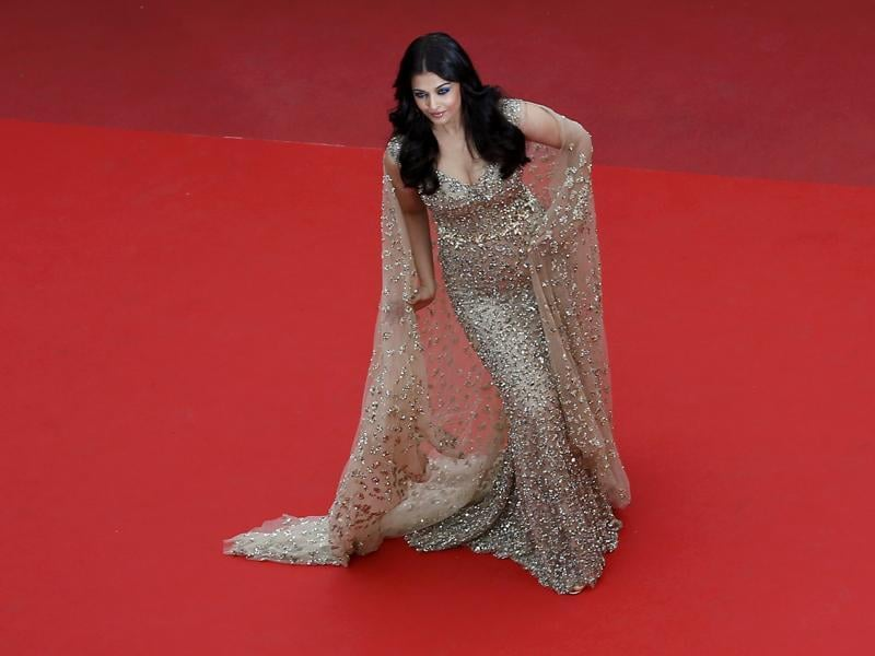 Aishwarya Rai Bachchan poses on the red carpet as she arrives for the screening of the film Ma loute (Slack Bay) in competition at the 69th Cannes Film Festival in Cannes. (REUTERS)