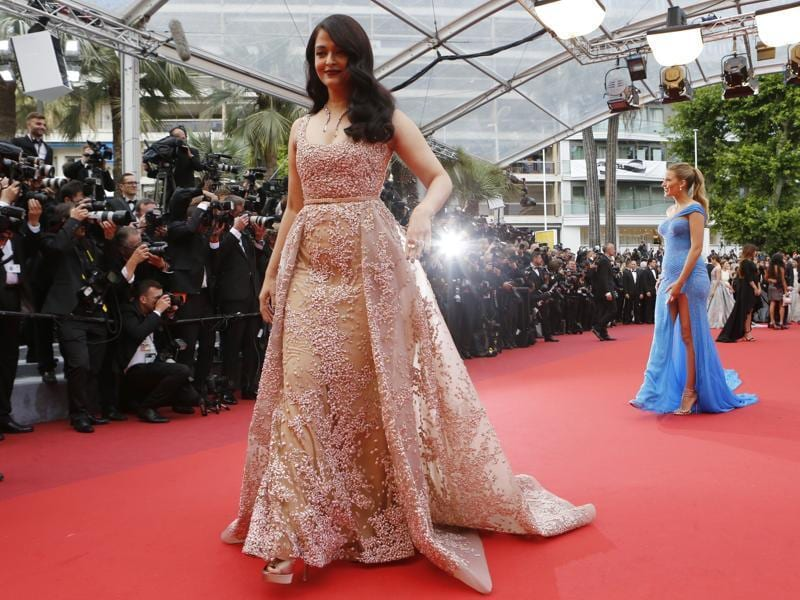 Actresses Aishwarya Rai Bachchan, left, and Blake Lively pose for photographers upon arrival at the screening of the film The BFG at the 69th international film festival, Cannes, southern France, Saturday.  (AP)