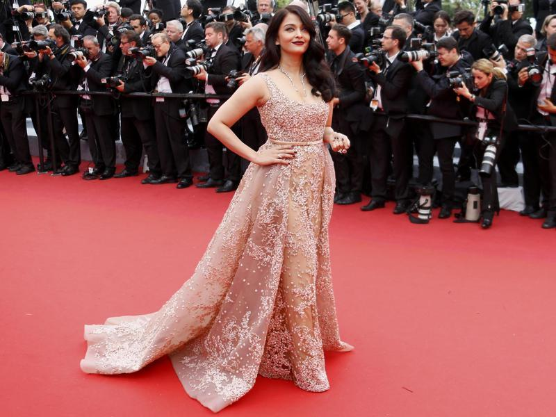 Bollywood actress Aishwarya Rai poses on the red carpet as she arrives for the screening of the film, The BFG at the 69th Cannes Film Festival in Cannes on Saturday. (REUTERS)
