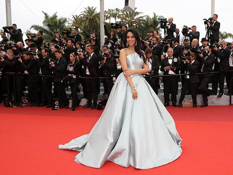 Actress Mallika Sherawat took to the Cannes red carpet dressed to the nines in a gorgeous Georges Hobeika silver gown at the screening of the film The BFG. (Instagram)