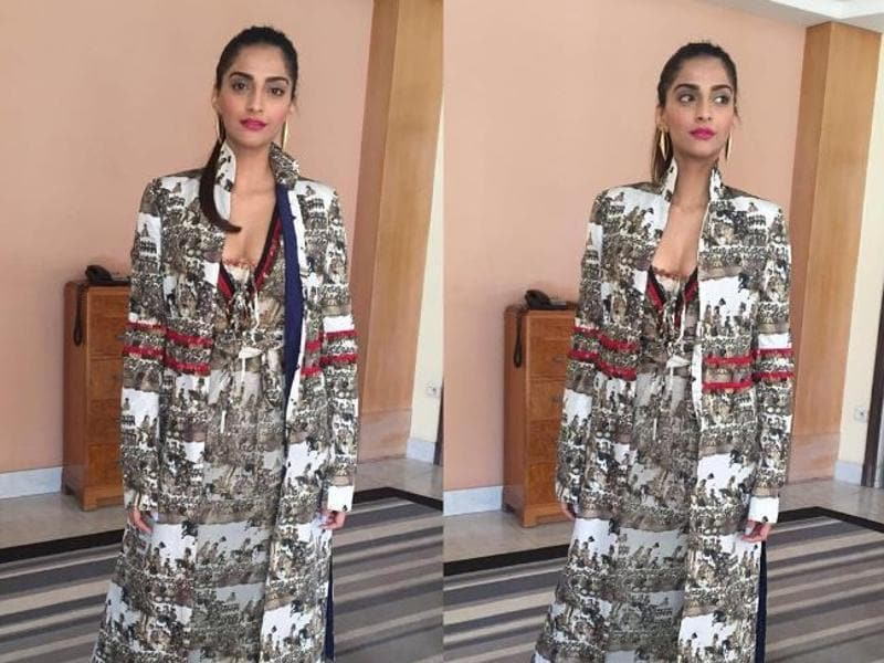 Sonam Kapoor stuns in an edgy Anamika Khanna creation that she paired with bright pink lips. (Instagram)