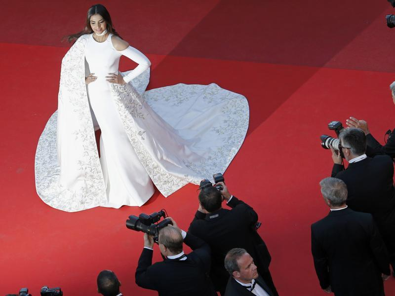 Sonam Kapoor arrives on red carpet for the screening of the film Mal de pierres (From the Land of the Moon) in competition at the 69th Cannes Film Festival in Cannes. (REUTERS)