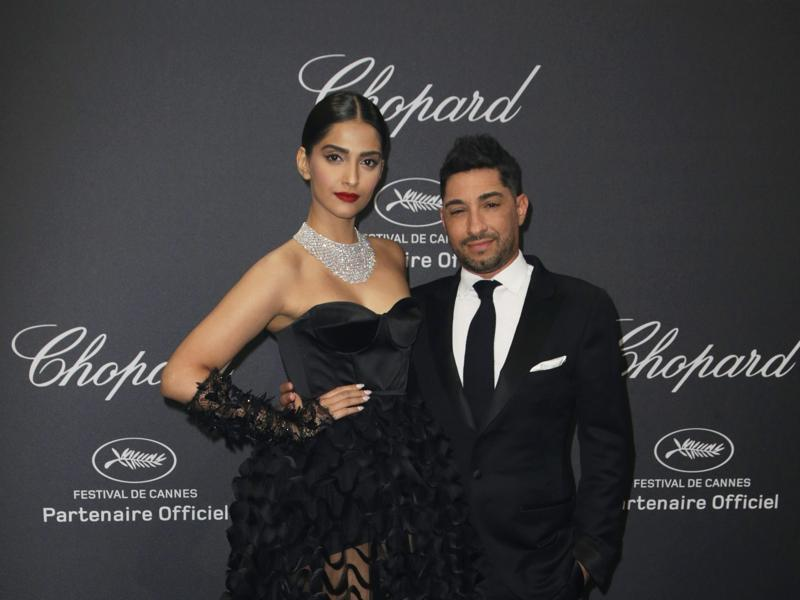 Sonam Kapoor poses with Michael Russo at the Chopard