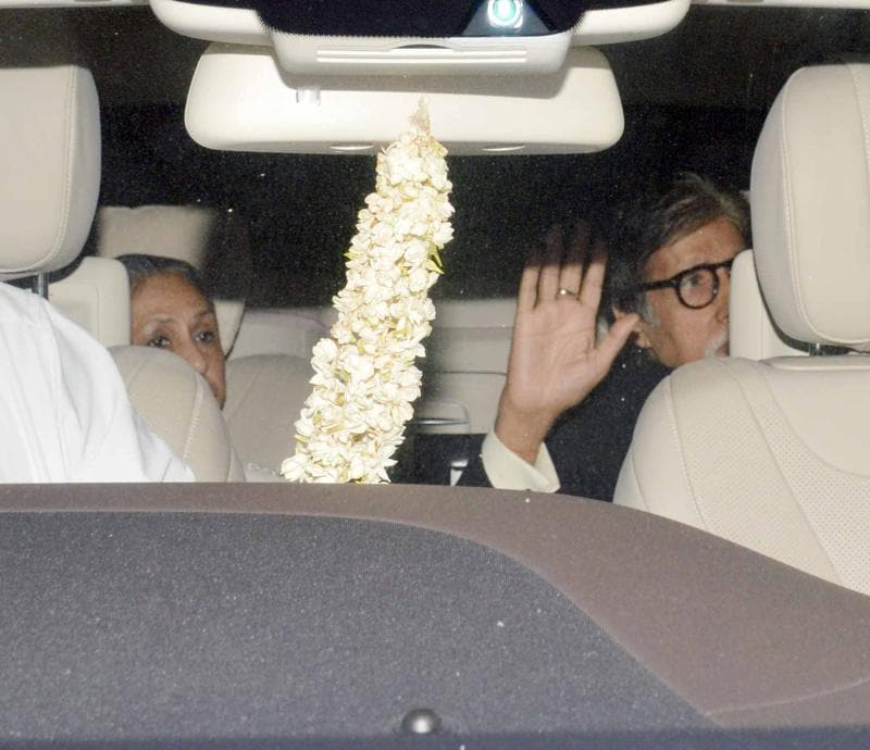 Amitabh Bachchan, his wife Jaya; son Abhishek and daughter-in-law Aishwarya, too were in attendance. (Yogen Shah/HT)