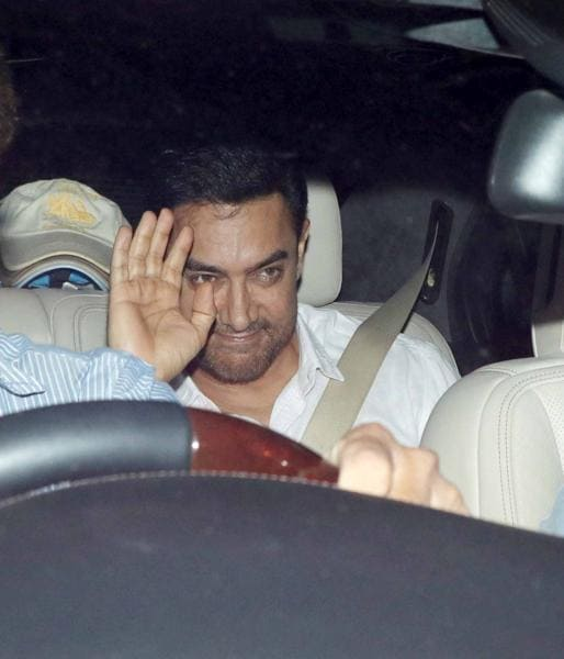 Aamir Khan, along with his wife Kiran, attended the bash. (Yogen Shah/HT)
