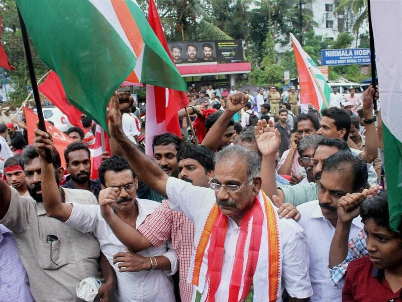 LDF candidate AK Saseendran celebrates his victory in the assembly elections in Kozhikode on Thursday. (PTI)