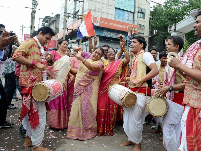 AGP party workers celebrating their victory in Assam Assembly polls in Guwahati .  (PTI)