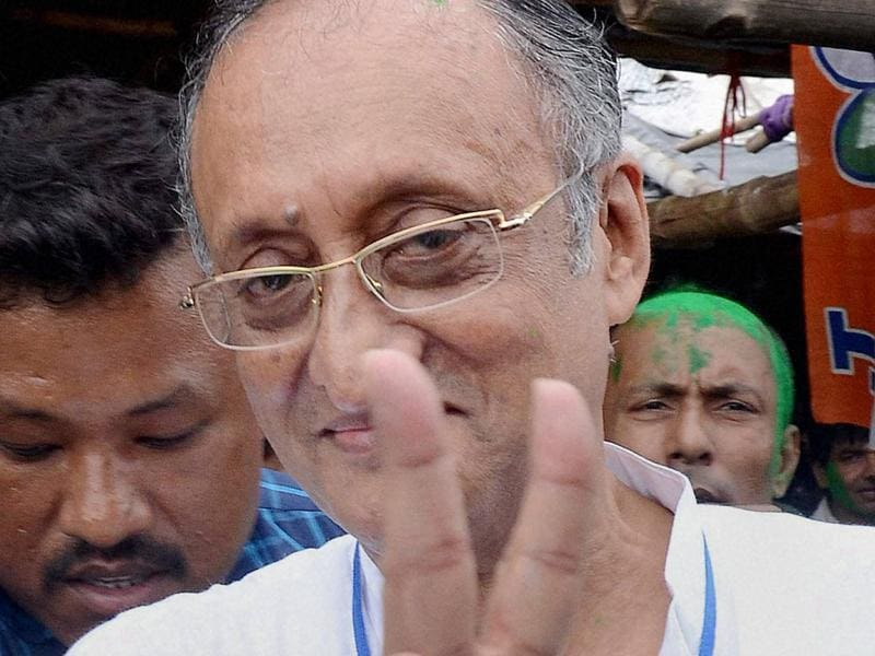 TMC candidate Amit Mitra celebrates his victory in West Bengal Assembly eections in North 24 Parganas. (PTI)