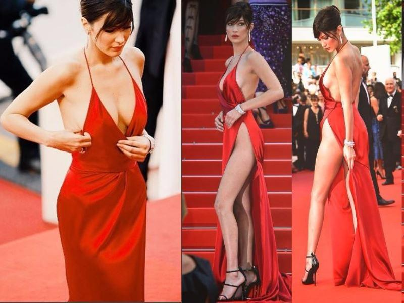 Bella, 19, stole the show at the premiere of The Unknown Girl in a satin gown which featured a waist-high split to leave very little to the imagination. (Instagram)