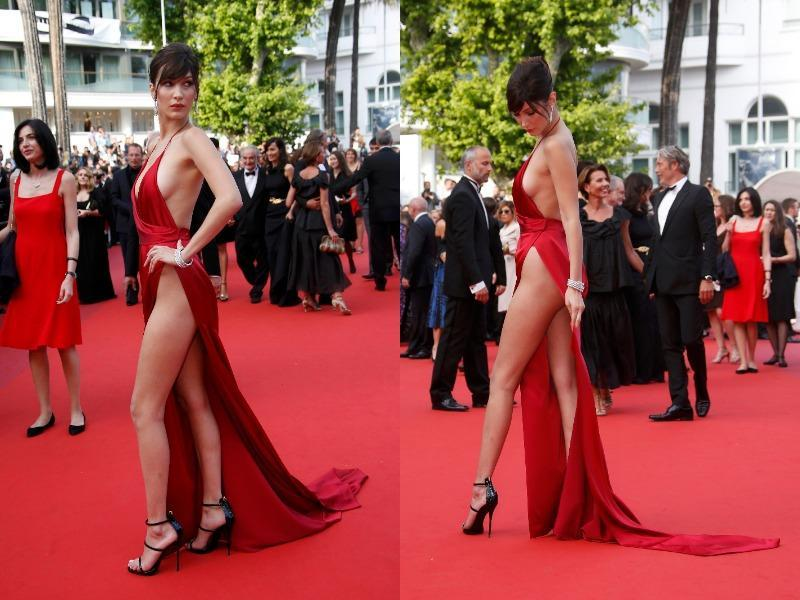 Yep, the 19-year-old model accidentally exposed her lady part in a slinky red dress on the Cannes red carpet on Wednesday.  (Instagram)