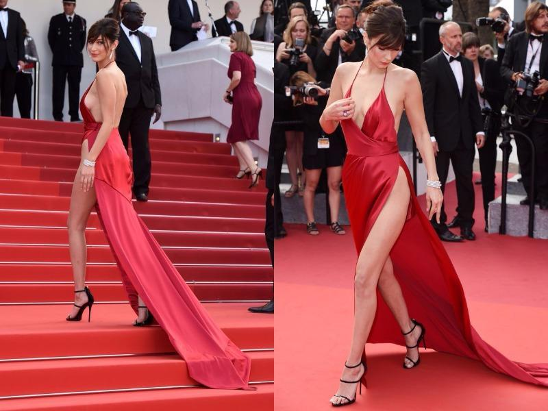 Surely Bella felt ridiculously sexy in her slit gown, but she certainly didn't expect a wardrobe malfunction!  (Instagram)