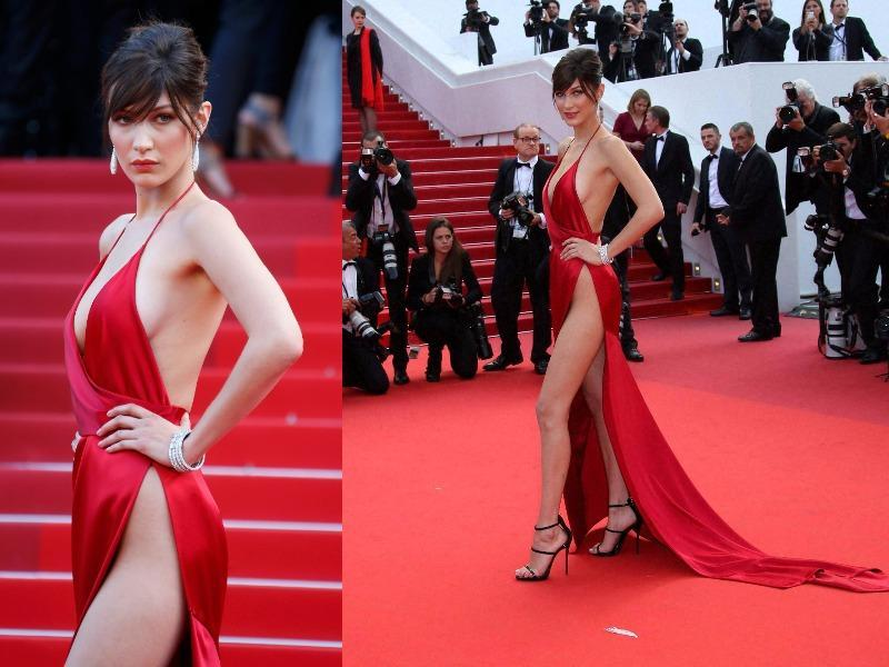 The stunning brunette flaunted every inch of her runway-ready figure in one of the most daring dresses we've seen from this year's Cannes Film Festival. (Instagram)