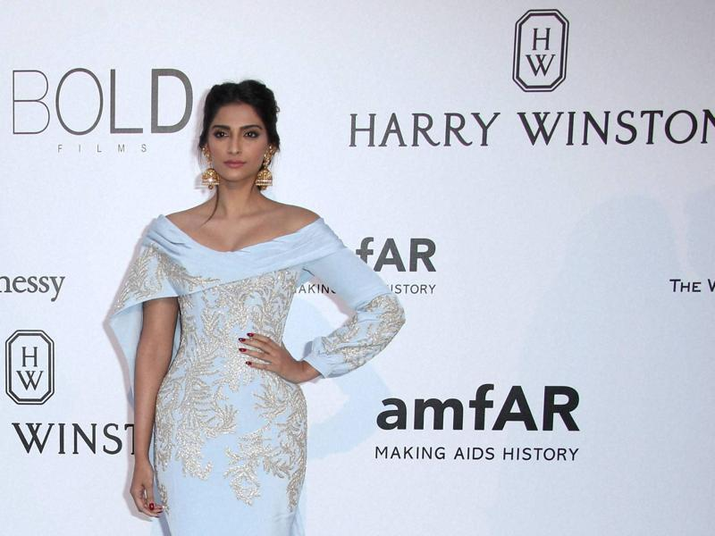 She wore a sky blue Ralph & Russo gown with golden embroidery which she paired with heavy traditional Indian jhumkas. (AP)