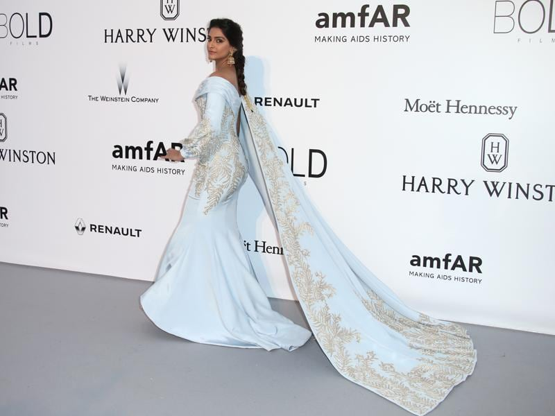 Sonam Kapoor poses for photographers upon arrival at the amfAR Cinema Against AIDS benefit at the Hotel du Cap-Eden-Roc, during the 69th Cannes international film festival, Cap d'Antibes, southern France, Thursday. (AP)