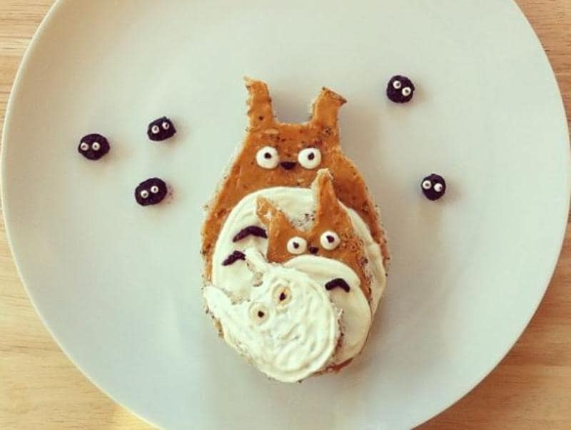 Totoro family and the soot gremlins made from pastries and yogurt.  (Instagram/freeandwildchild)
