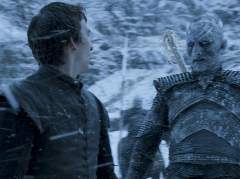 OOOH! Looks like Bran will finally meet the Night's King. But hey! He is standing on his feet... so this can't be present time reality. Is he flashing back to Hardhome? (HBO)