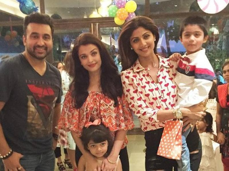 Aishwarya Rai Bachchan and her daughter Aaradhya attend the fourth birthday celebrations of Viaan, son of Shilpa Shetty.