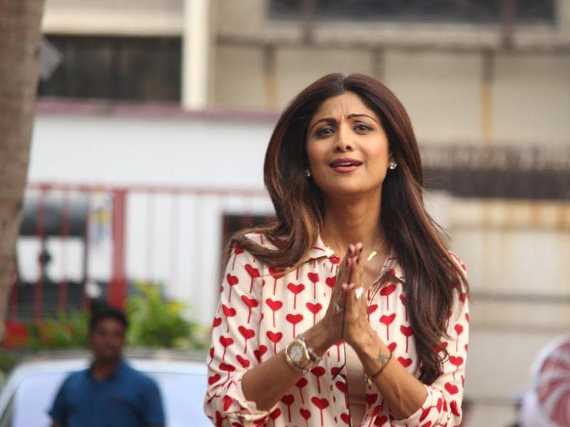 Shilpa Shetty during the birthday celebration of her son Viaan in Mumbai, on May 21, 2016.  (IANS)