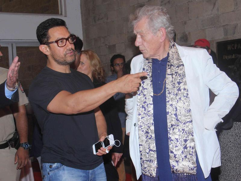 Aamir Khan and Hollywood Actor Ian McKellen in conversation during MAMI Film Festival t in Mumbai. (Photo by Pramod Thakur/ Hindustan Times)