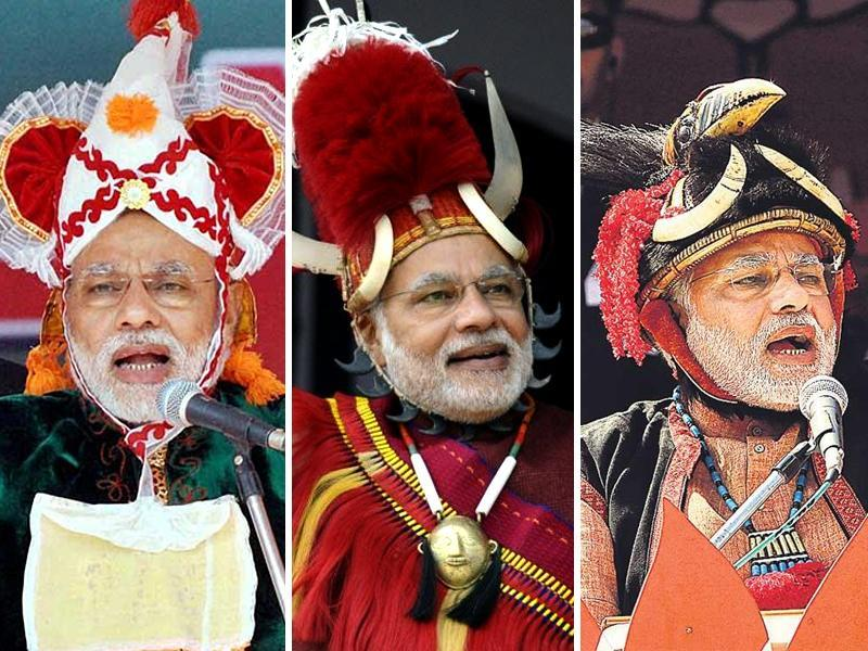 During his tour of the north-eastern states of Imphal, Arunachal Pradesh and Nagaland, Modi made it a point to be seen wearing tribal head gear. It seems that in two years, the Prime Minister has learned that donning many hats pays off in politics. (PTI/AP/AFP)